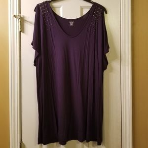 Plum cold shoulder blouse